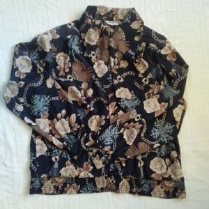 Vtg 90s Alfred Dunner Navy floral bow tie blouse